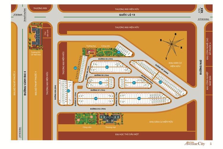 Mặt bằng phân lô dự án Bình Dương Avenue City Bến Cát