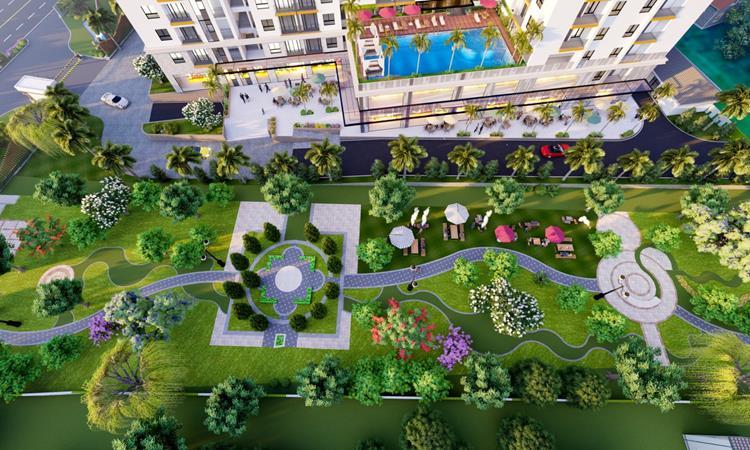 Phối cảnh công viên và cảnh quang của dự án căn hộ Legend Complex