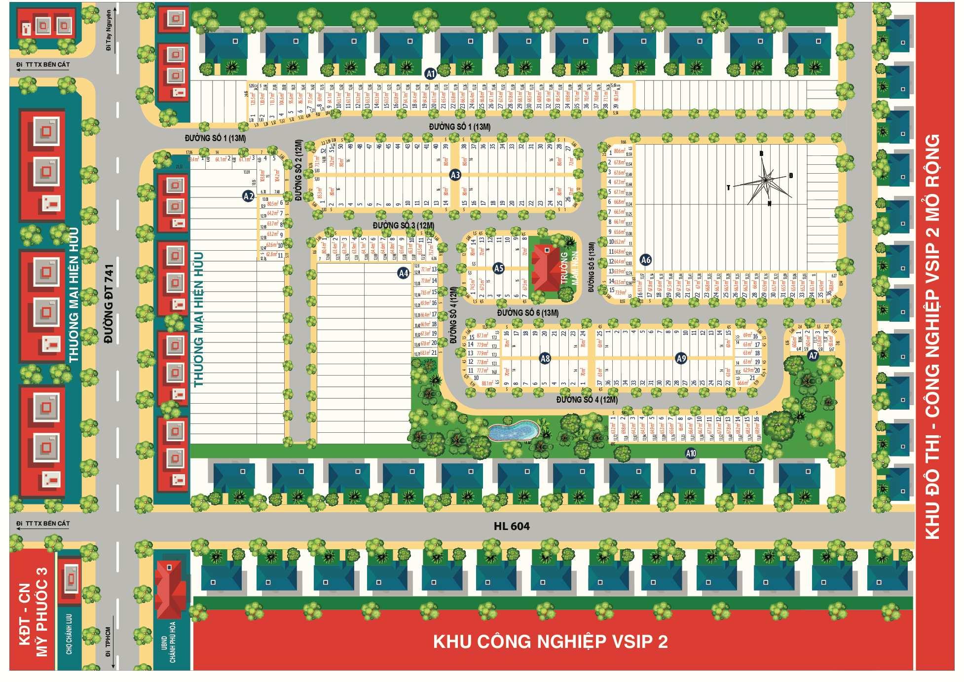 Mặt bằng phân lô dự án BenCat City Zone